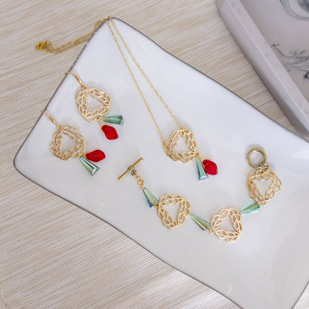 Red Leaf Flower Set (Necklace, Bracelet and Earring) (4-10 working days)