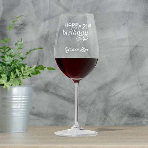 """Birthday"" Personalised Crystal Wine Glass Single -15oz"