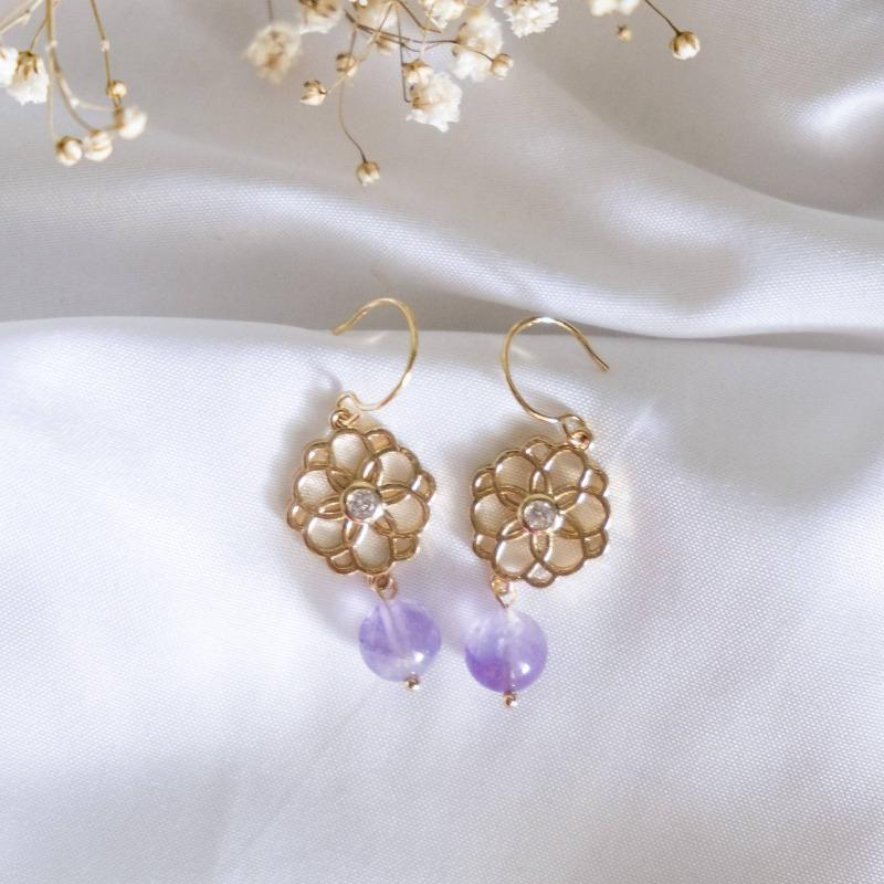Flower with Amethyst Stone Handmade Earring