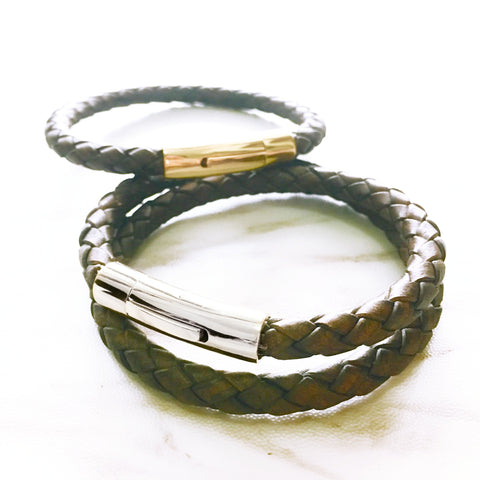 Braided Leather Bracelet - Vintage Brown