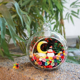 Christmas Penguin with Moon in Glass