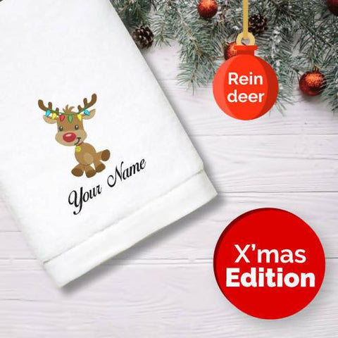 Personalised Towel | X'mas Reindeer