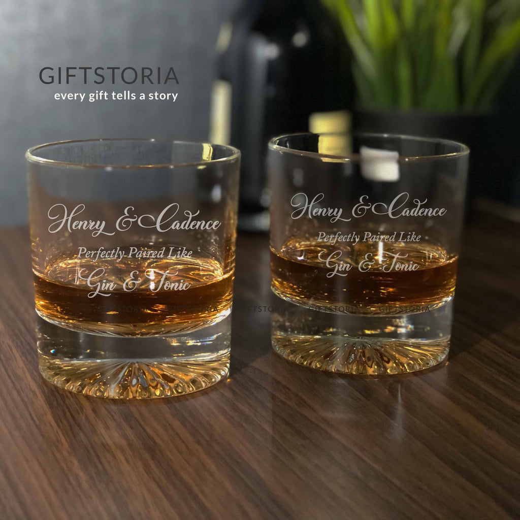Personalized Gin & Tonic Crystal Rock Glass Set (1 Pair)