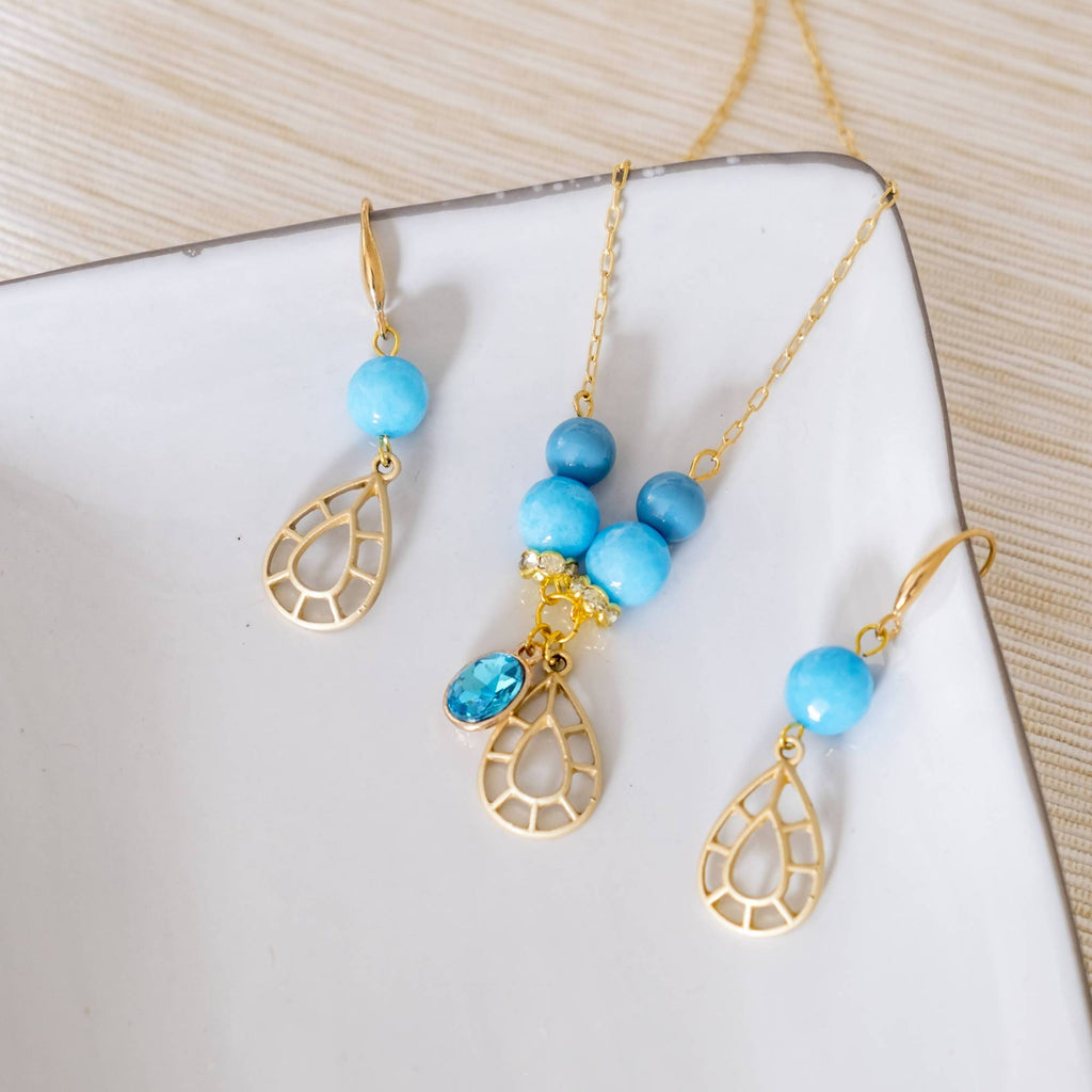 Boho Blue Jewelry Set (Necklace and Earring) (4-10 working days)