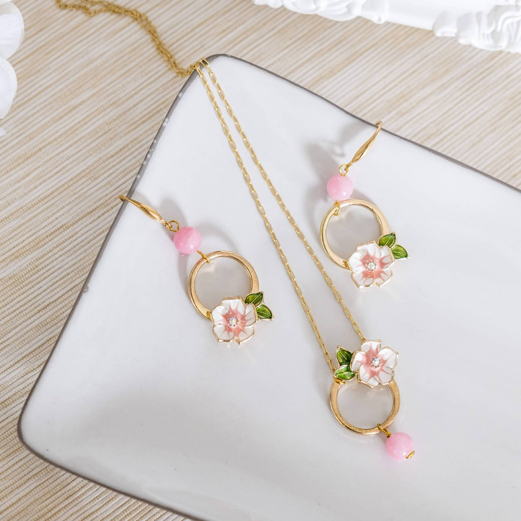 Pink Flower Set (Necklace and Earring) (4-10 working days)