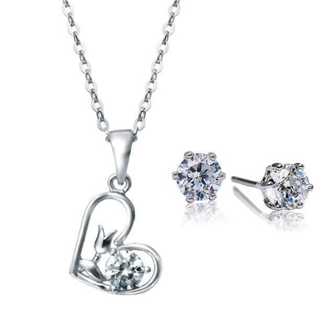 Angie Jewels & Co. Flower Heart Pendant & Earrings Gift Set