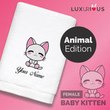 Personalised Towel Baby Kitten (Female)