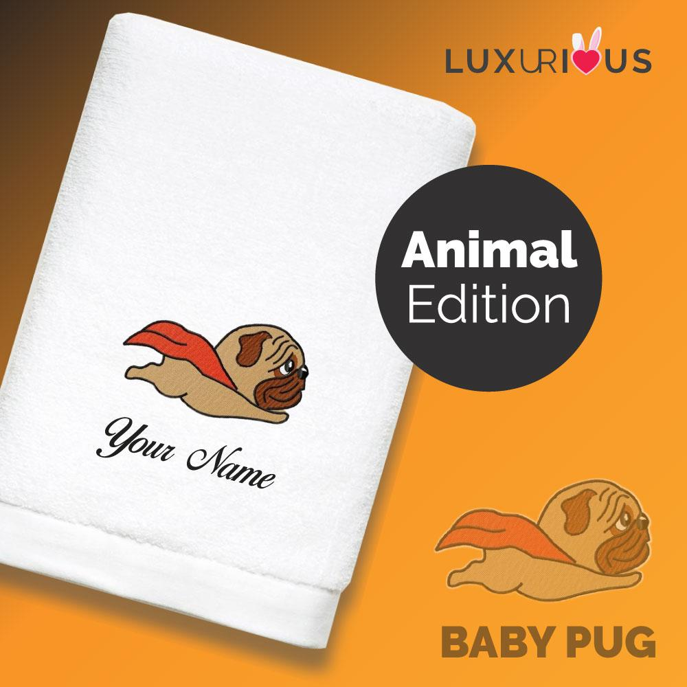 Personalised Towel Baby Pug