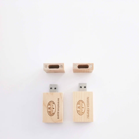 Personalised Wooden USB 2.0 with Wordings & Image (6-8 working days)