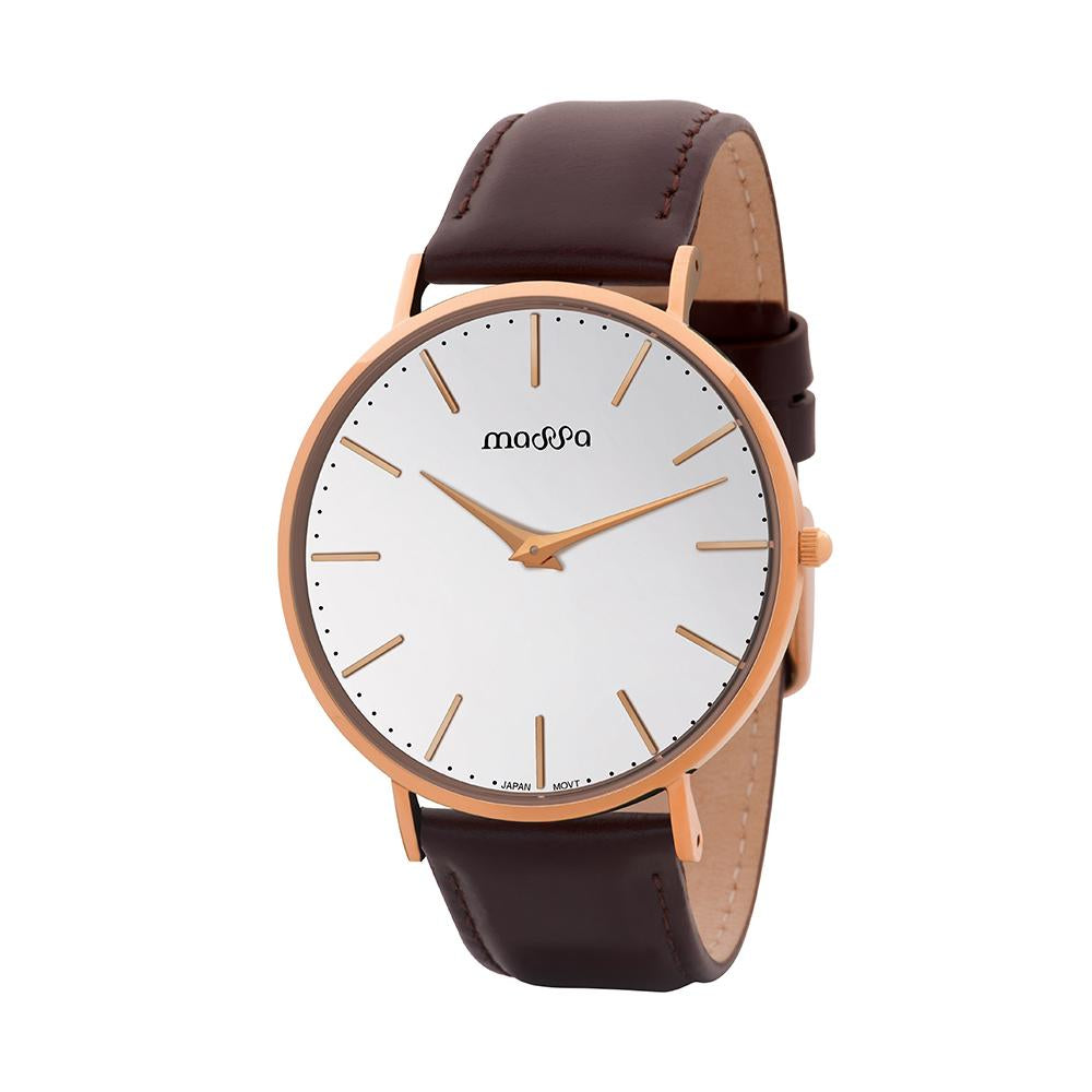 Grace Men White Rose Leather Watch