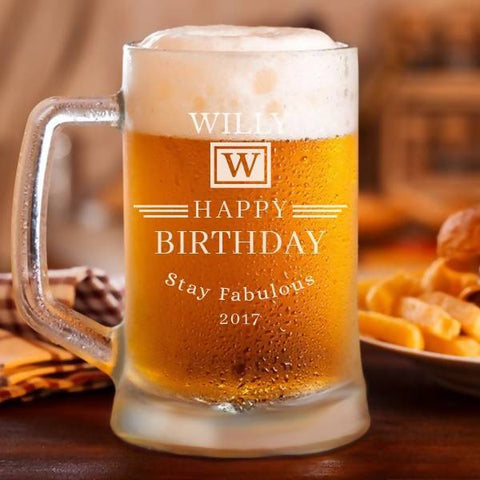 """Happy Birthday"" Personalised Classic Beer Mug -17oz (500ml)"