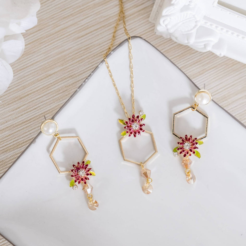 Jungle Red Flower Set (Necklace and Earring) (4-10 working days)