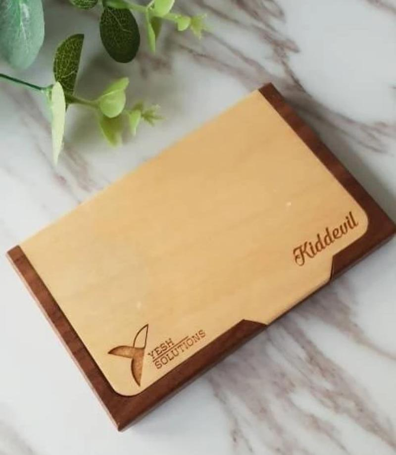 Personalised Wooden Name Card Holder