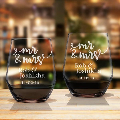 Mr & Mrs Personalised Couple Stemless Wine Glass Set