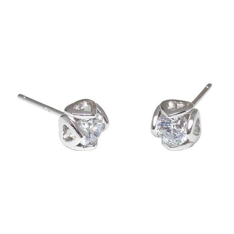 Angie Jewels Four Heart Stud Earrings made with Swarovski Zirconia