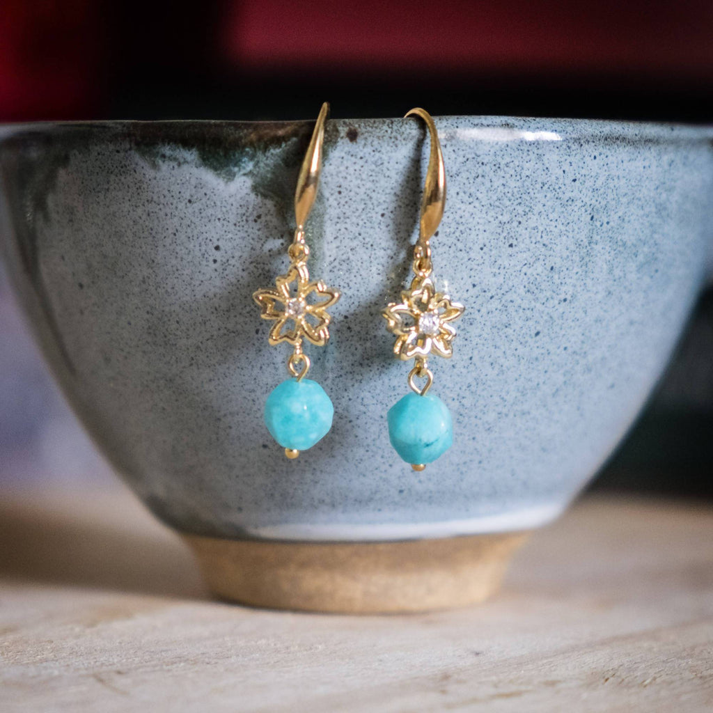 Bright Turquoise Stone Flower Gold Handmade Earring (4-10 Working Days)