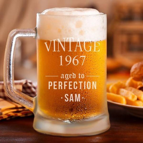 """Aged to Perfection"" Personalised Classic Beer Mug -17oz (500ml)"