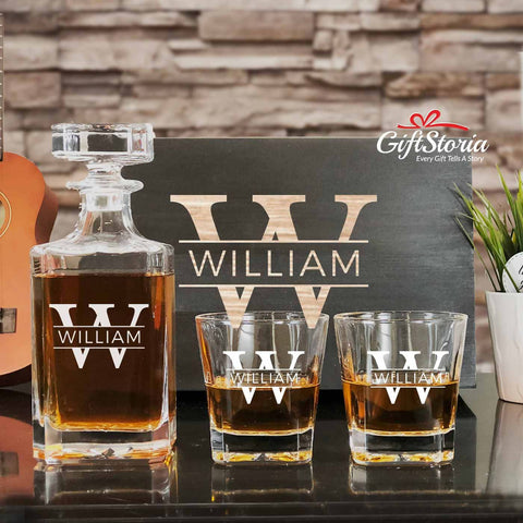 Personalized Whiskey Decanter Set (Design 6)