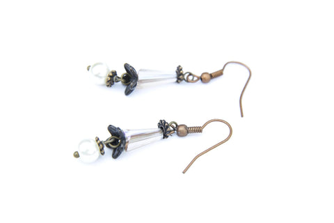 Tulip and Pearl Hair Stick & Earring Set  (4-10 working days)