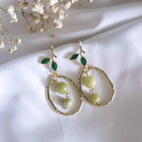 Leaf with Jasper Green Stone Handmade Earring