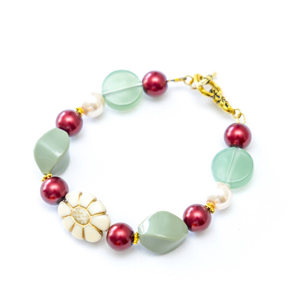Sunflower in Green Red Bracelet and Earring Set (4-10 working days)
