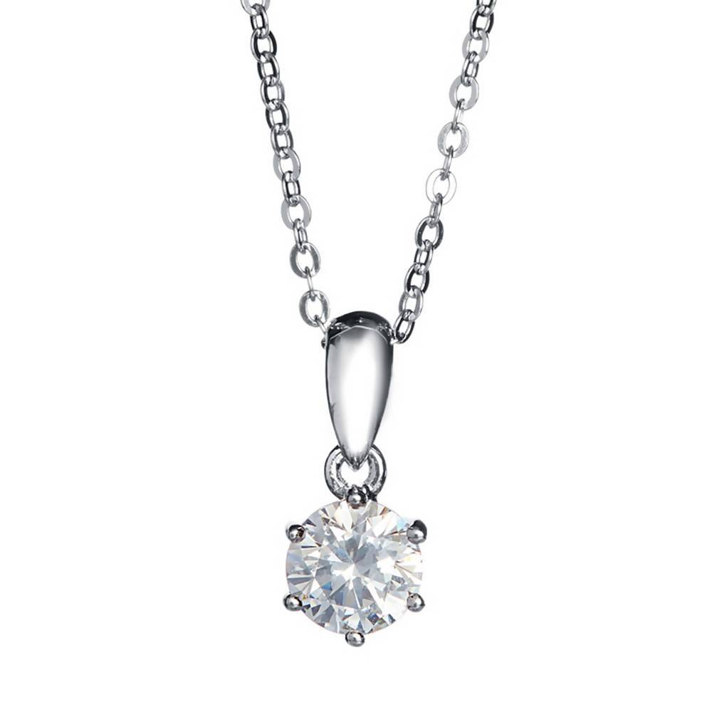 AJ 6 Prong Solitaire Pendant Necklace Made With Swarovski Zirconia