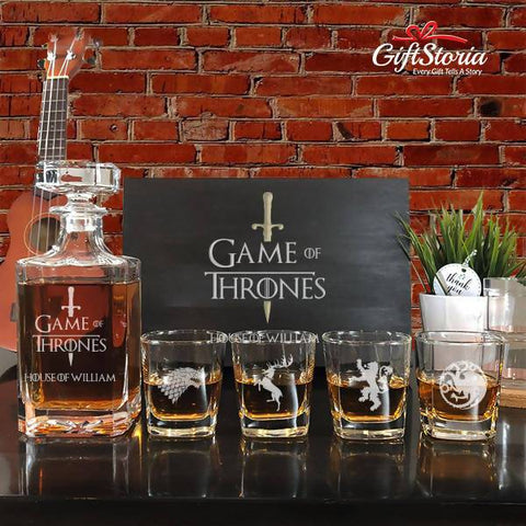 "Personalized ""Game Of Throne"" Whiskey Decanter Set (Sword Design)"