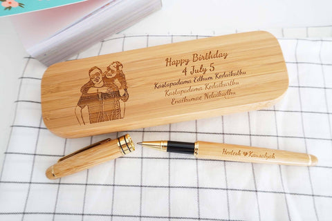 Personalised Wooden Pen with Wordings & Image (6-8 working days)