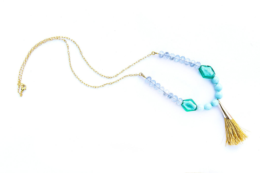 Mint Blue Gold Necklace  (4-10 working days)