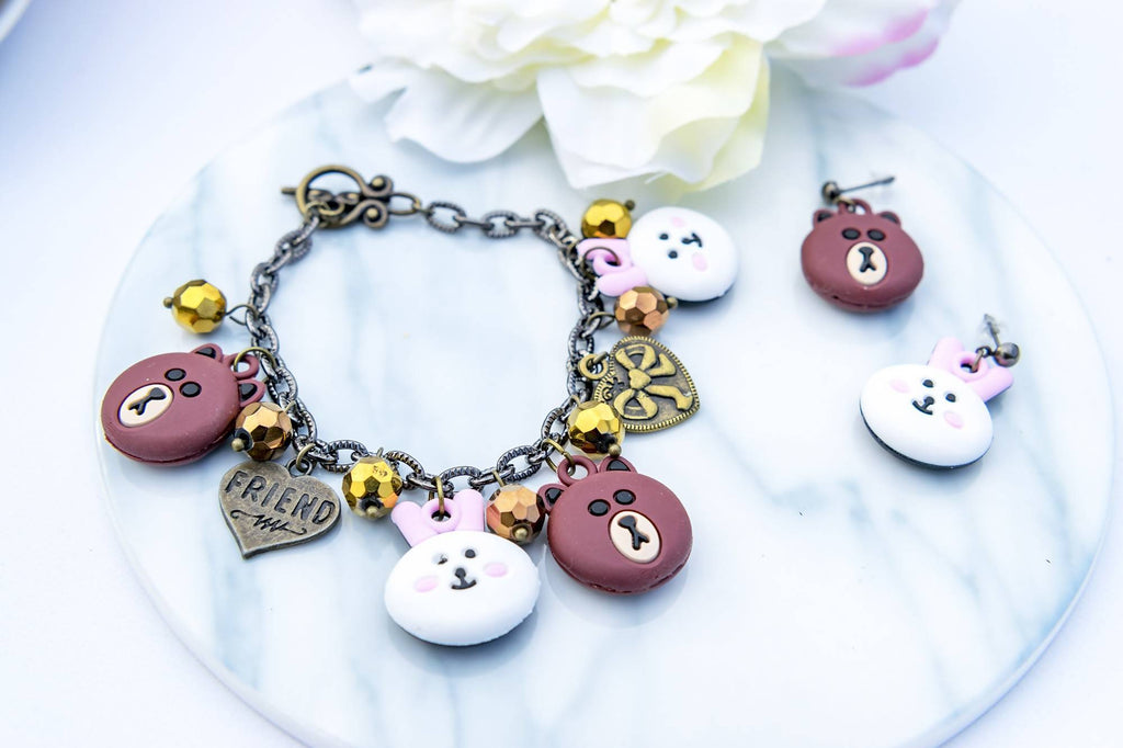 Line Friends Bracelet & Earring Set  (4-10 working days)