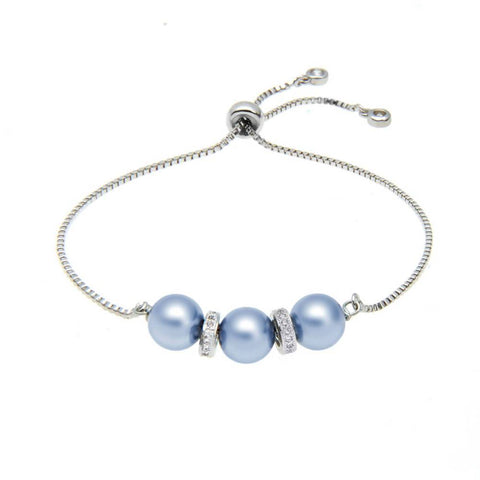 AJ Luna Water Swarovski Crystal Pearl Adjustable Bracelet
