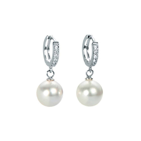 Angie Jewels Loop Swarovski Crystal Pearl Earring