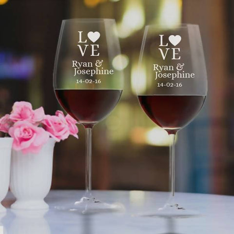"""LOVE"" Personalised Crystal Wine Glass Set -15oz"