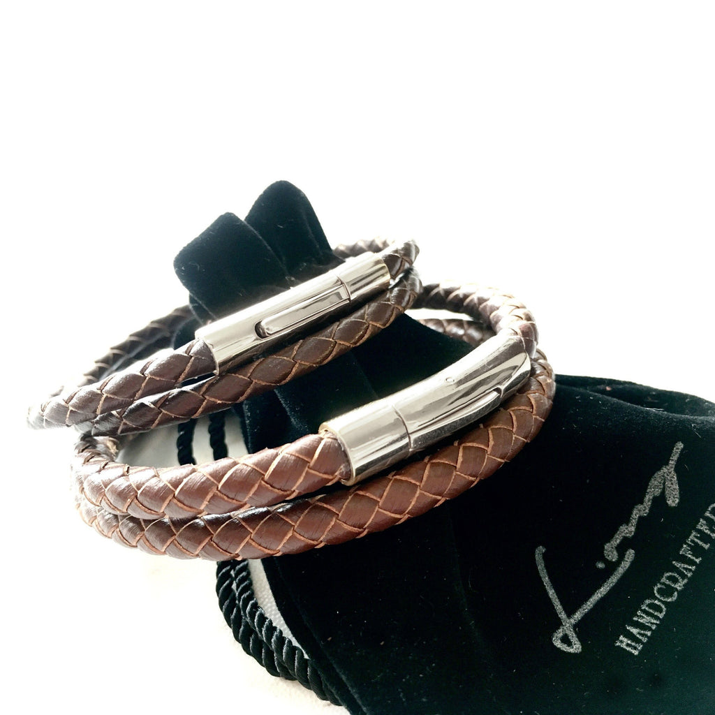 Braided Leather Bracelet - BROWN