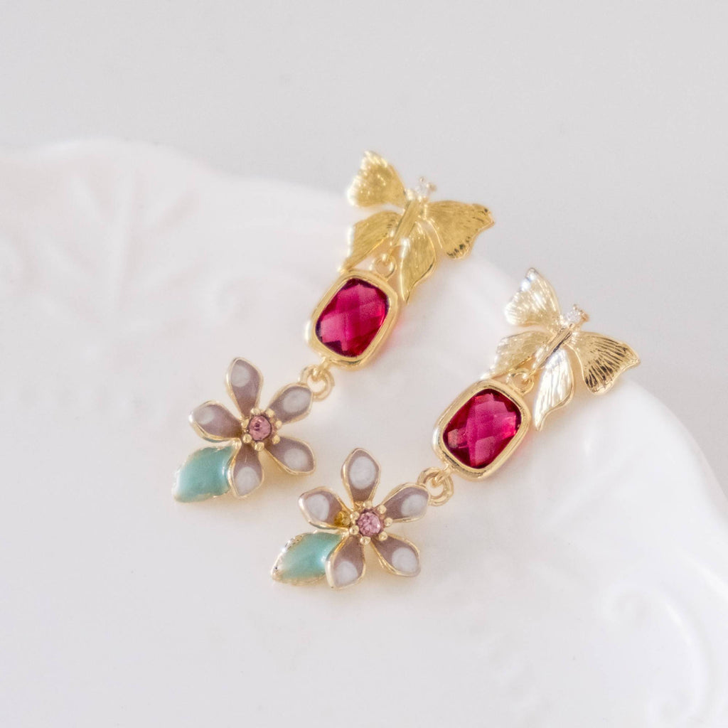 Little Pink Flower Butterfly Red Crystal Gold Earring  (4-10 working days)