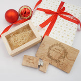 Christmas Design Wooden USB with Personalised Wordings (6-8 working days)