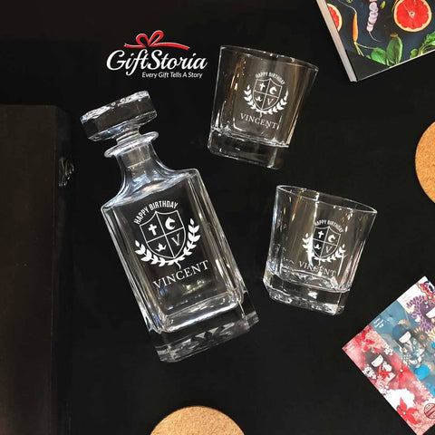 Personalized Whiskey Decanter Set (Design 9)