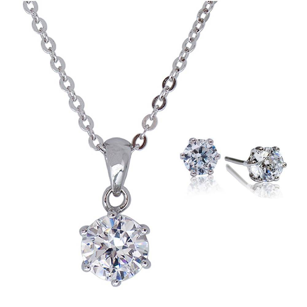 AJ 6 Prong Pendant & Earrings Gift Set
