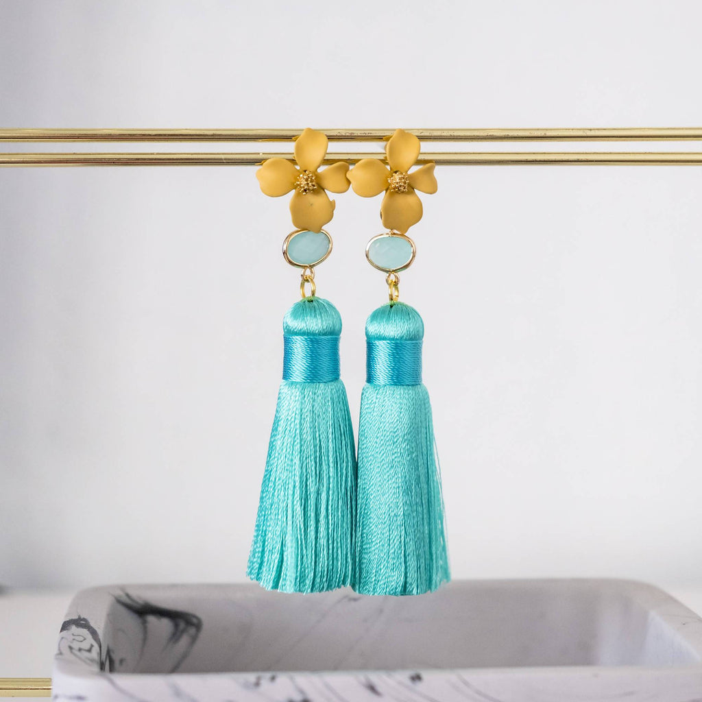 Yellow Flower with Turquoise Mint Premium Silk Tassel Gold Earring  (4-10 working days)