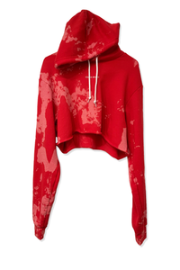 BLEACHED RED CROP HOOD