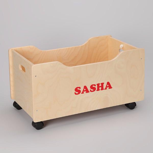 Personalized Pull Cart | Natural | Wooden Toy Boxes | Little Colorado Toddler Furniture