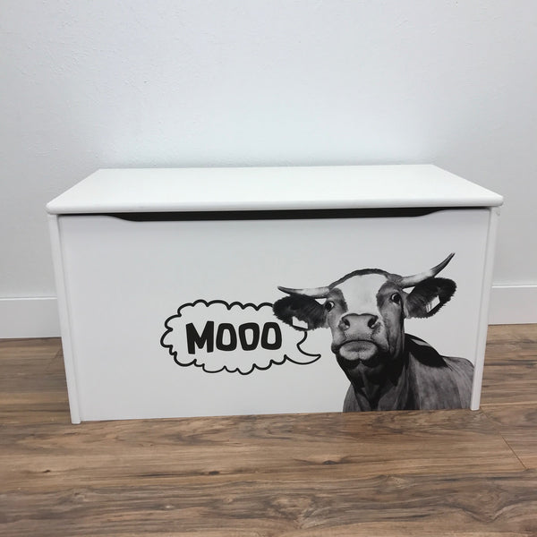 Little Prints: Toy Storage Chest | Mooo Cow | Wooden Toy Boxes | Little Colorado Toddler Furniture