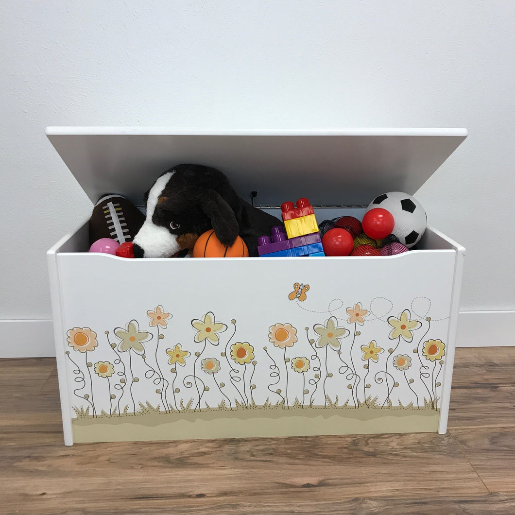 Little Prints: Toy Storage Chest | Field of Flowers | Wooden Toy Boxes | Little Colorado Toddler Furniture