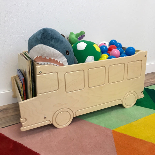 School Bus Toy Box | Natural | Wooden Toy Boxes | Little Colorado Toddler Furniture