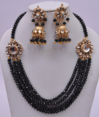 Multi Layered Black Necklace Set