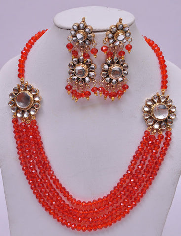 Red Multi Layered Necklace Set
