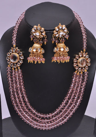 Purple Multi Layered Necklace Set
