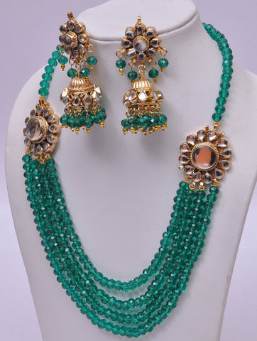 Green Multi Layered Necklace Set