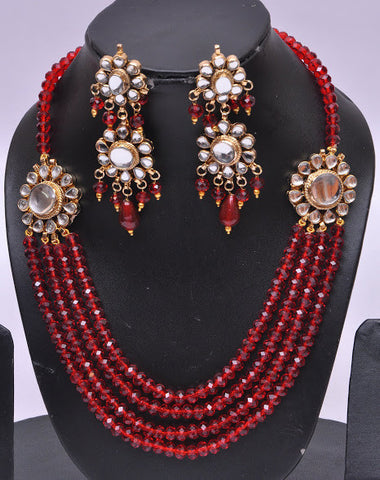 Dazzling Red Bead Necklace Set