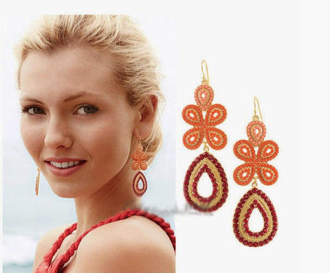 Orange Tone Indian Earrings
